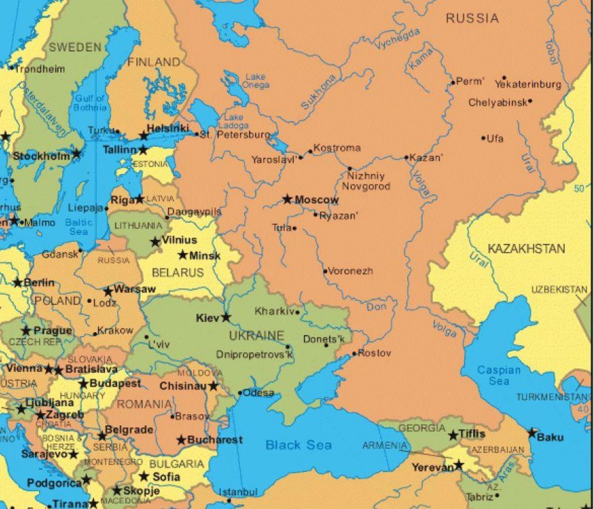 Mapa Europa Del Este.Mapa De Rusia Y Europa Del Este Mapa De Europa Del Este Y