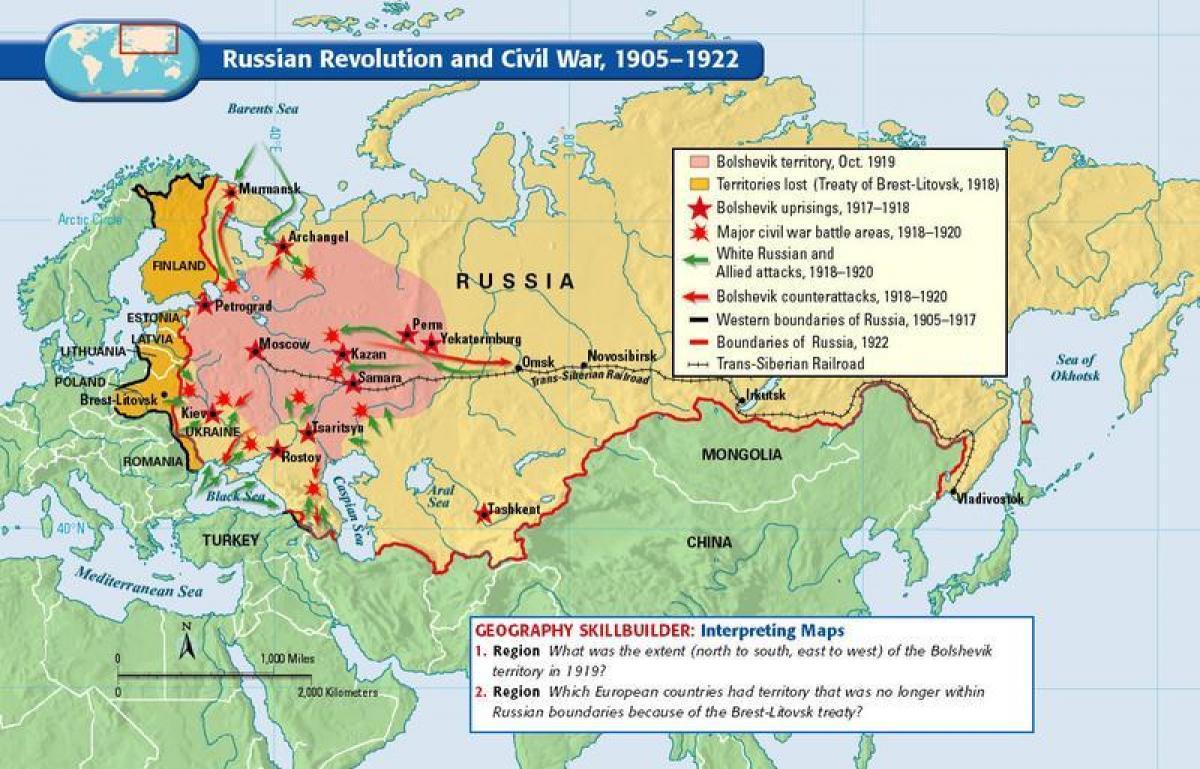 Picture of: Revolucion Rusa Mapa Mapa De La Revolucion Rusa El Este De Europa Europa